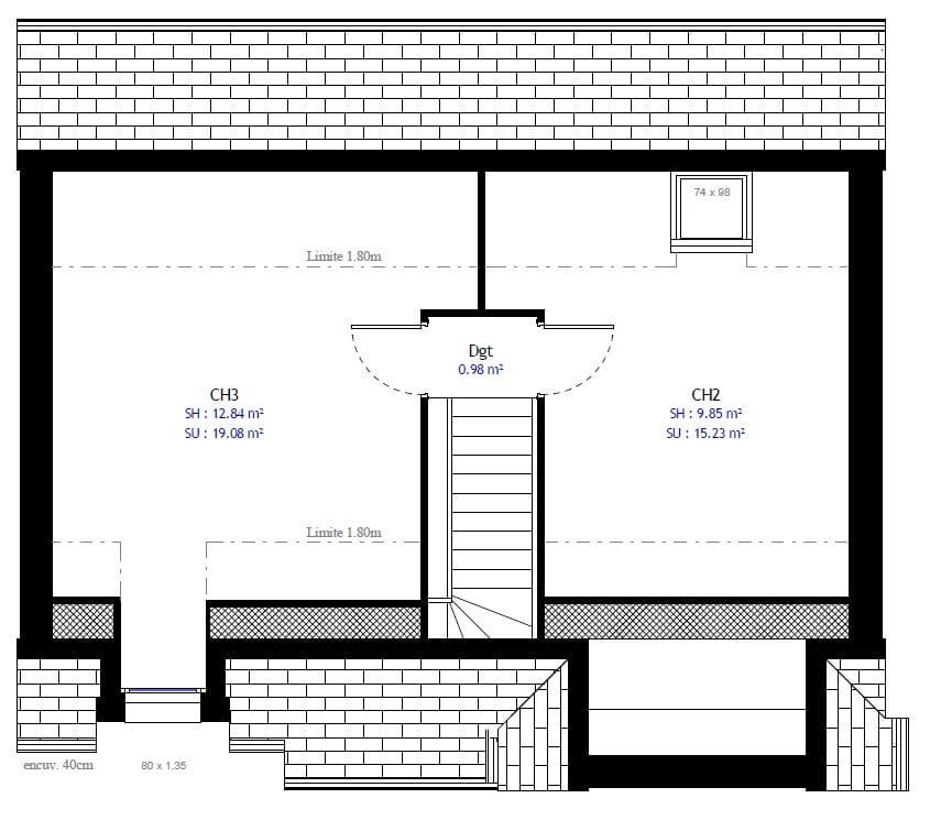 Plan 2de la maison individuelle Résidence Picarde 34