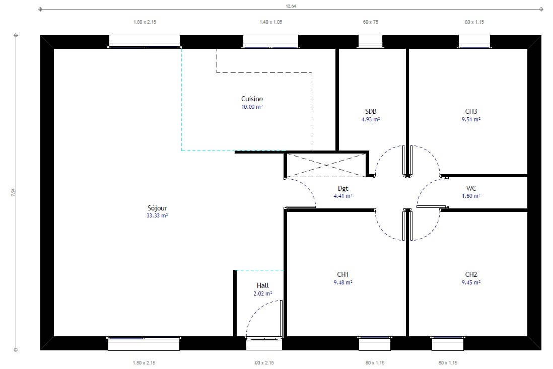 Plan maison 3 chambres Résidence Picarde 37