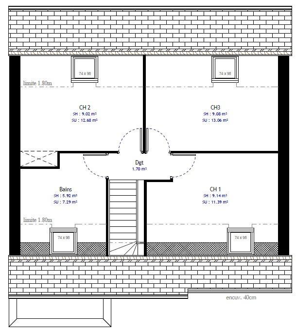 Plan maison 3 chambres Résidence Picarde 38