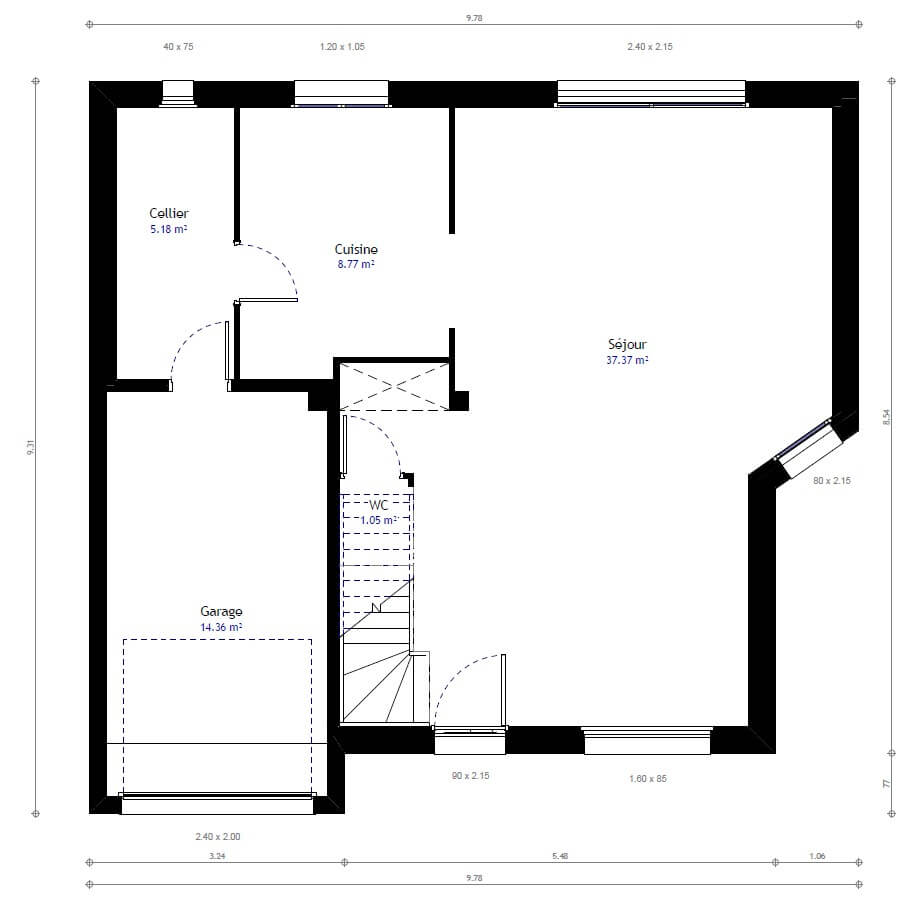 Plan maison individuelle 3 chambres 38b habitat concept for Modification de plan de maison