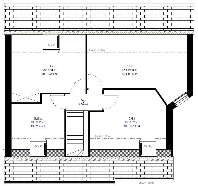Plan maison 3 chambres Lesmaisons.com 38B