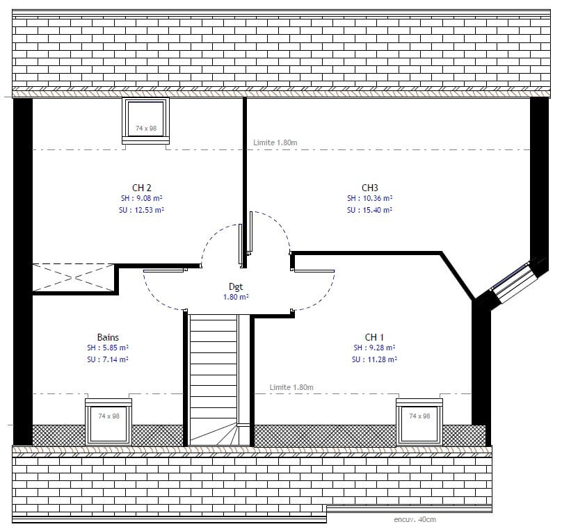 Plan maison 3 chambres Résidence Picarde 38B