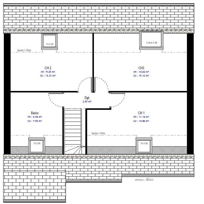Plan 2de la maison individuelle Résidence Picarde 39