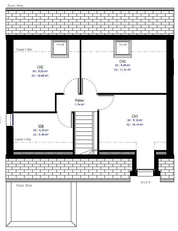 Plan 2de la maison individuelle Lesmaisons.com 40