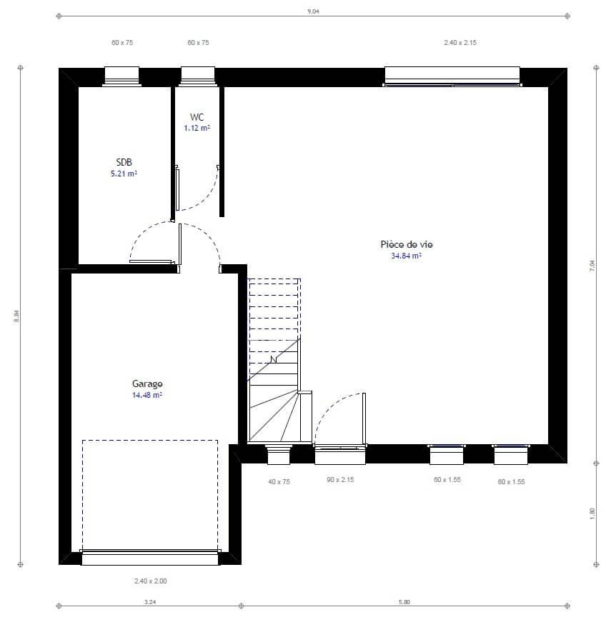 Plan 1de la maison individuelle Habitat Concept 41