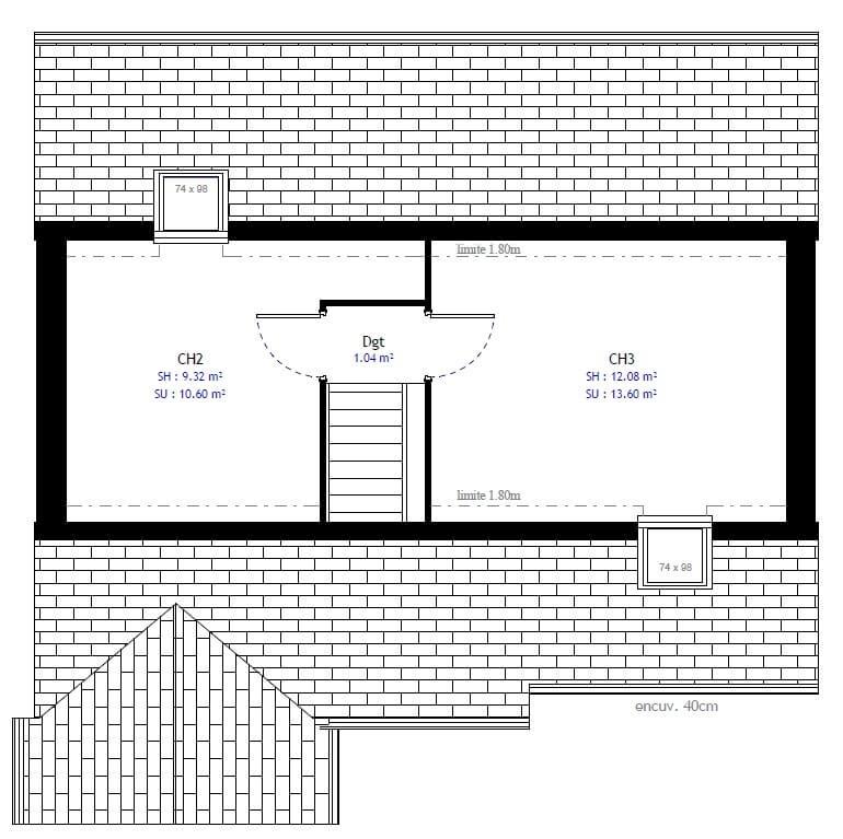 Plan 2de la maison individuelle Habitat Concept 41