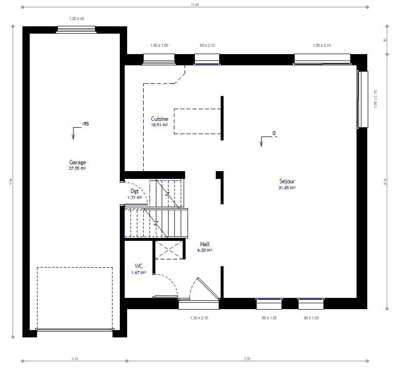 Plan 1de la maison individuelle Habitat Concept 43