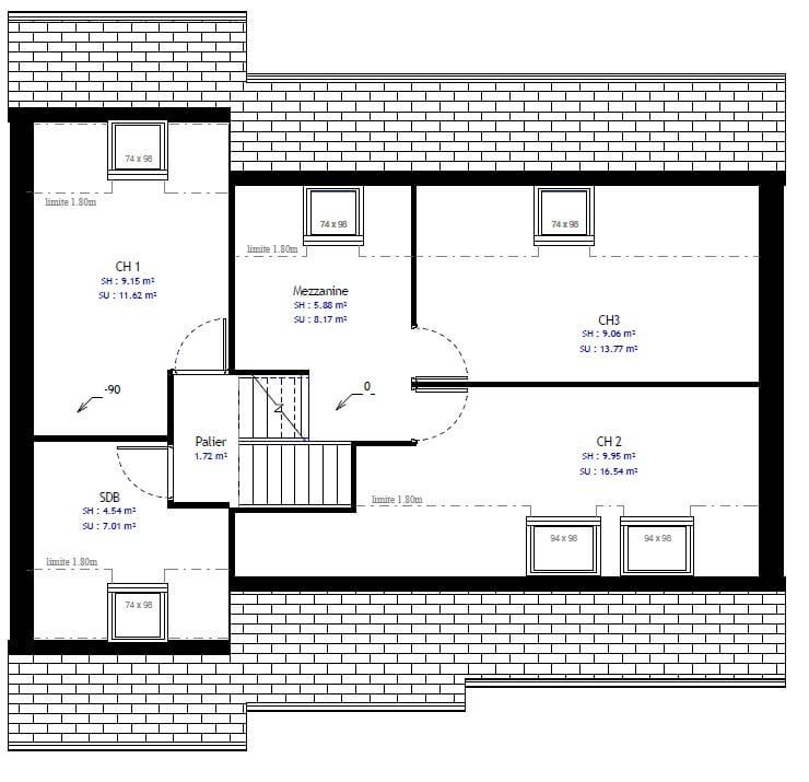 Plan 2de la maison individuelle Habitat Concept 43