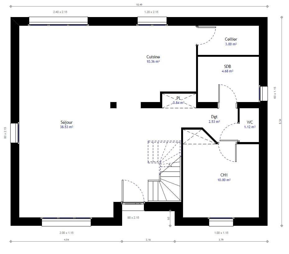 Plan 1de la maison individuelle Habitat Concept 46
