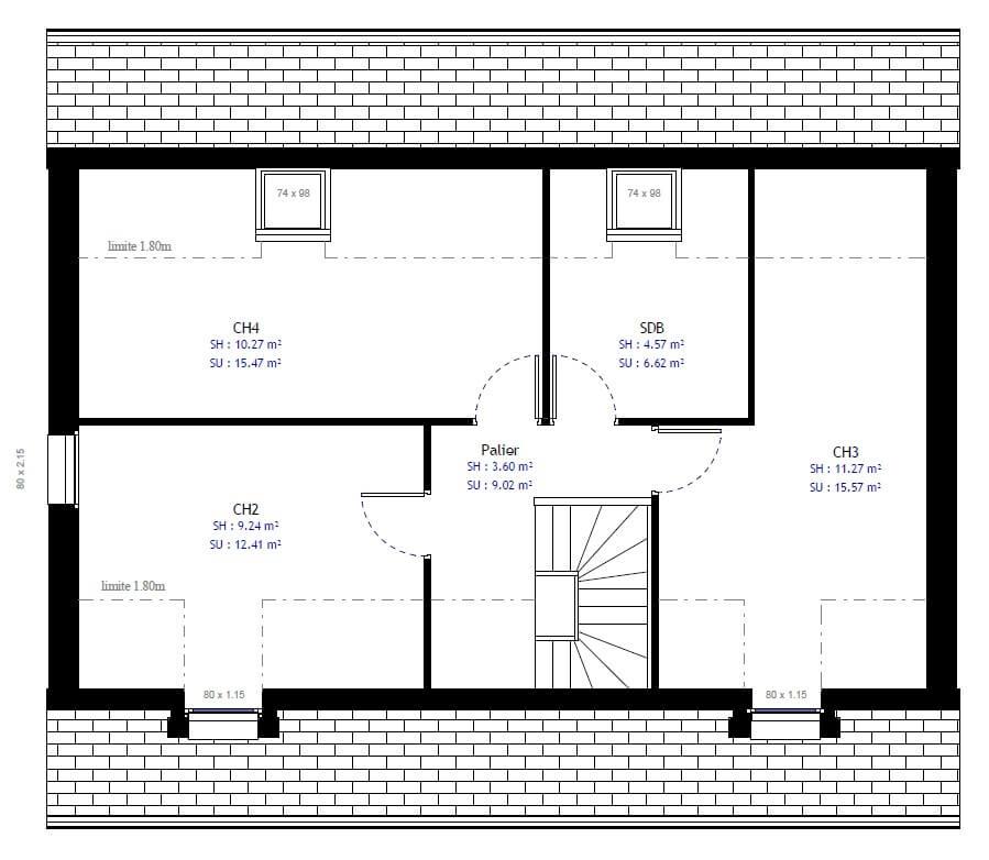 Plan 2de la maison individuelle Habitat Concept 46