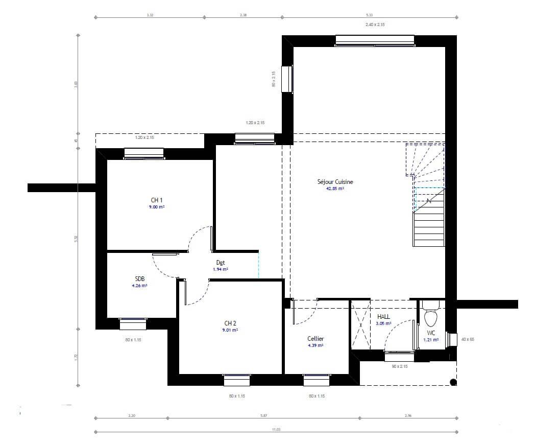 Plan 1de la maison individuelle Habitat Concept 47