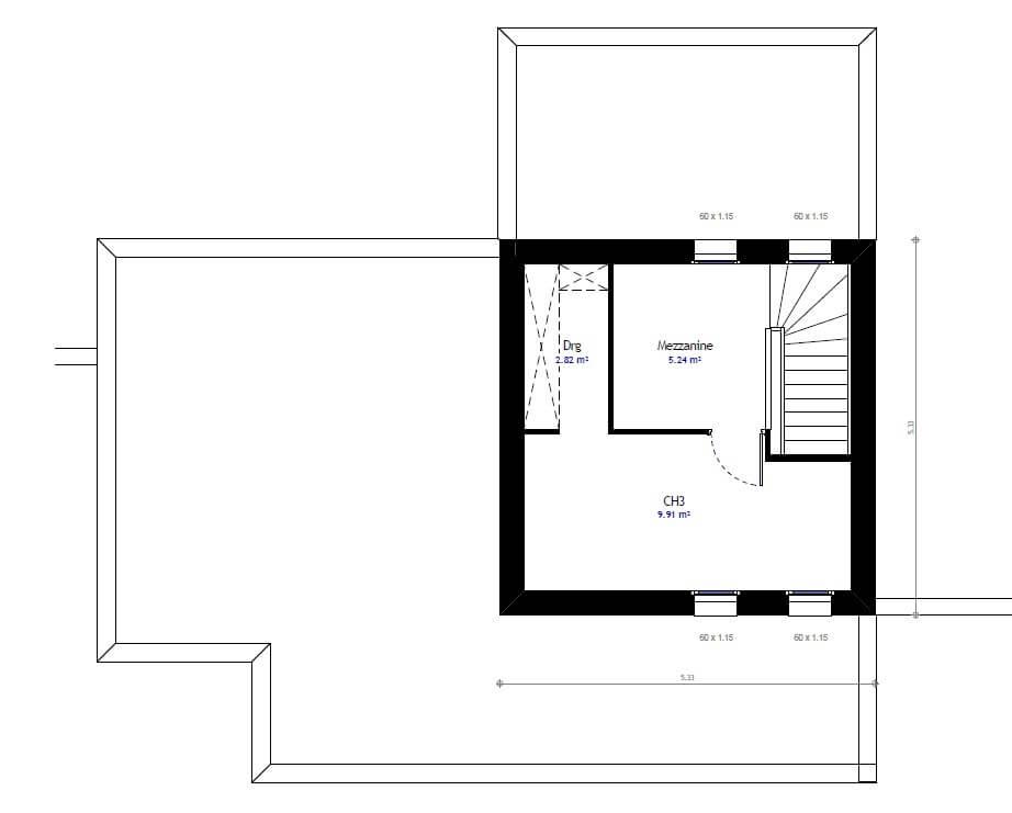 Plan 2de la maison individuelle Habitat Concept 47