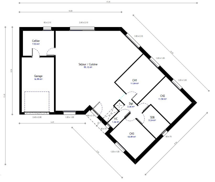 Construction maison plain pied avec habitat concept for Plan maison traditionnelle plain pied