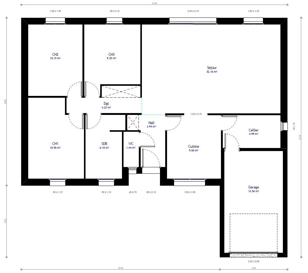 Plan maison plain pied 3 chambres maison moderne for Plan maison 3 faces