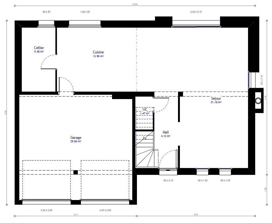 Plan maison 4 chambres Résidence Picarde 52