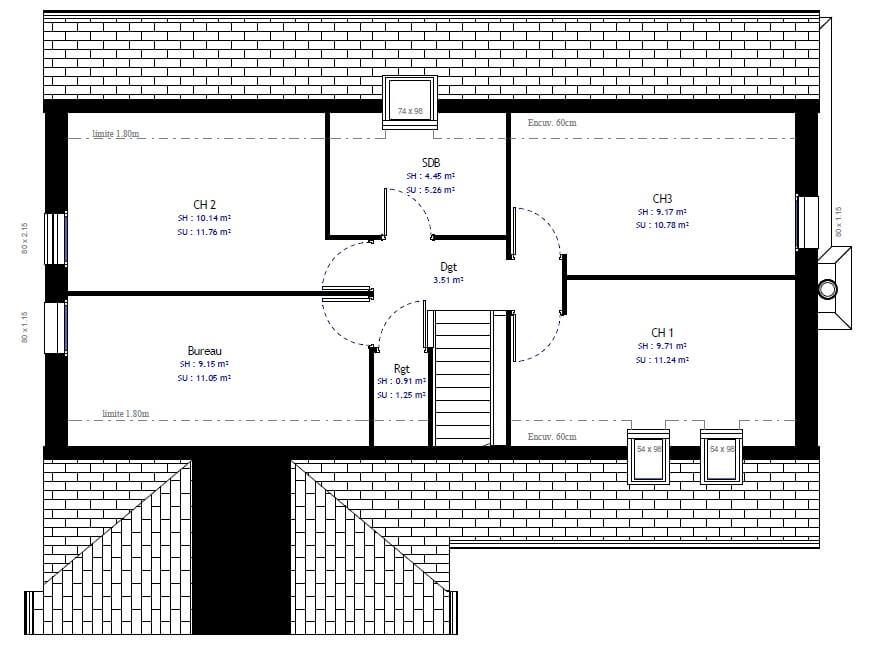 Plan 2de la maison individuelle Lesmaisons.com 52
