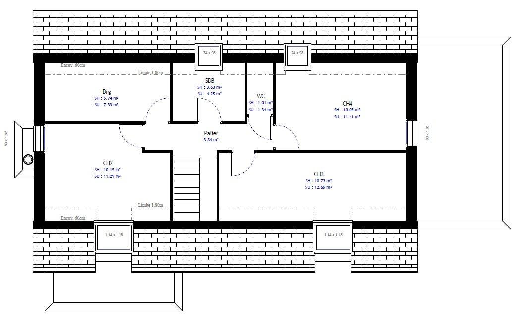 Plan 2de la maison individuelle Habitat Concept 60