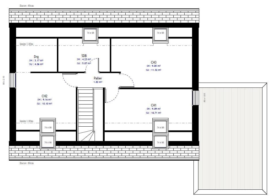 Plan maison 3 chambres Lesmaisons.com 61