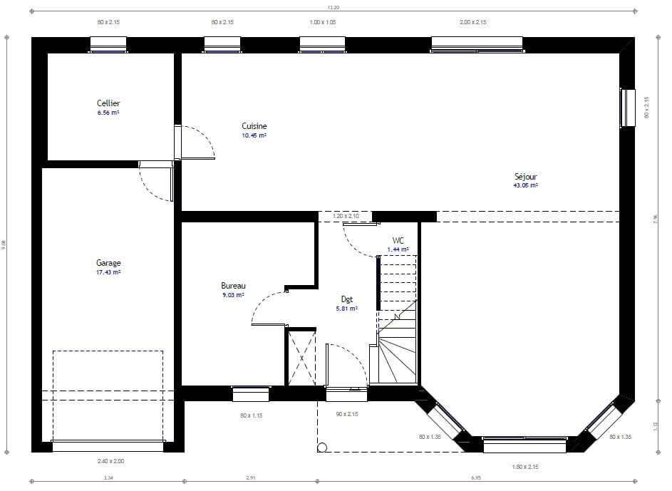 Plan 1de la maison individuelle Lesmaisons.com 66
