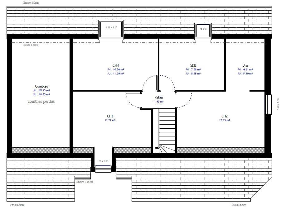 Plan maison 4 chambres Lesmaisons.com 66