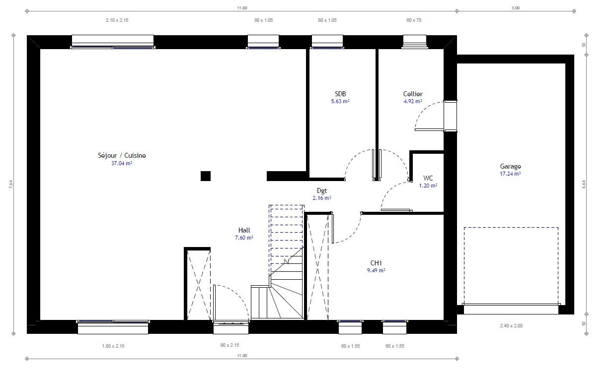 Plan maison individuelle 3 chambres 69 habitat concept Maison individuelle plan