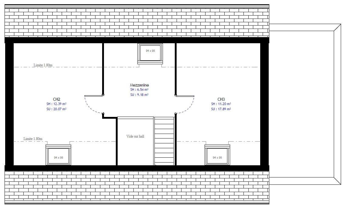 Plan 2de la maison individuelle Résidence Picarde 69