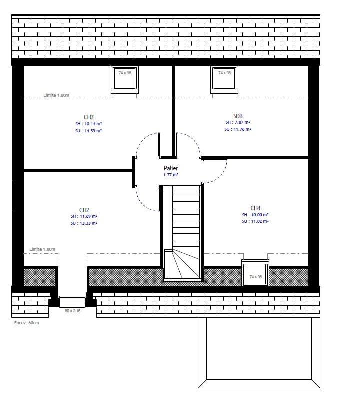 Plan 2de la maison individuelle Habitat Concept 70