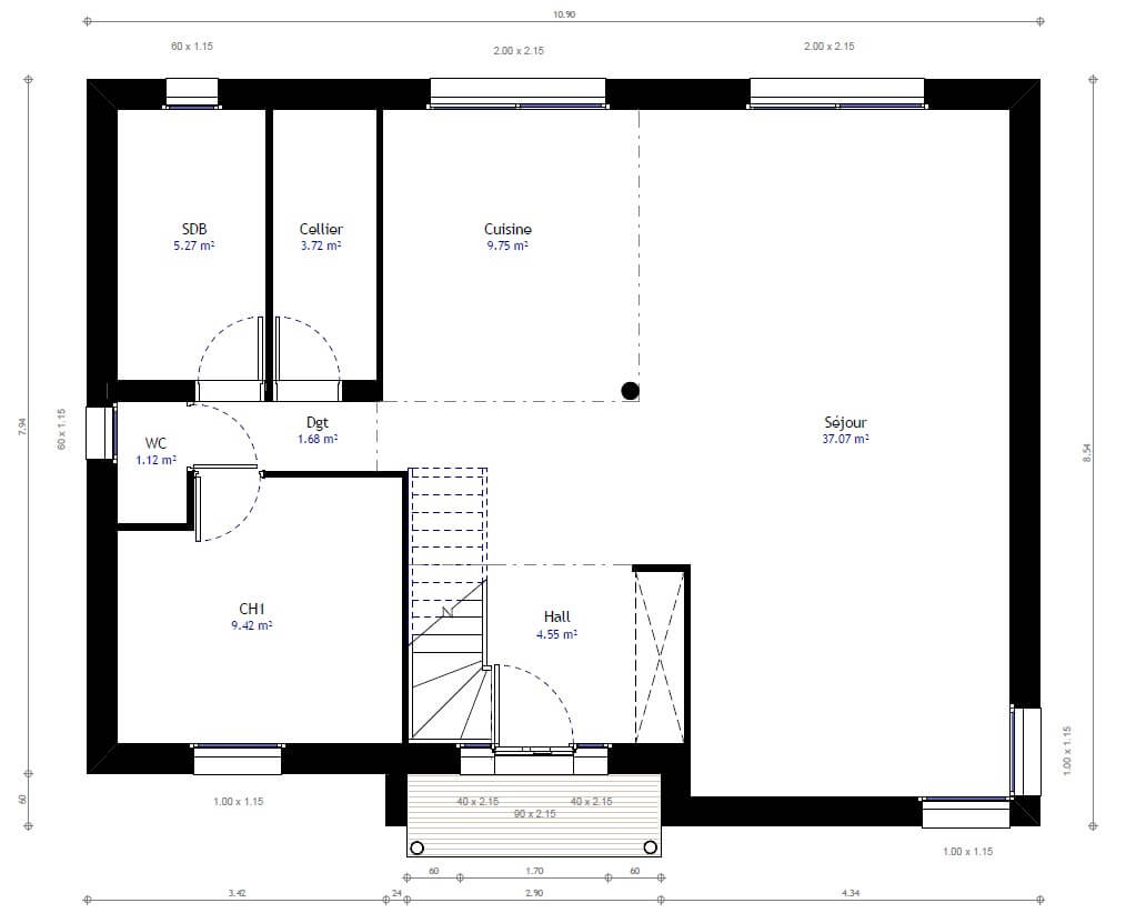 Plan maison individuelle 3 chambres 72 habitat concept for Plan maison 3 faces
