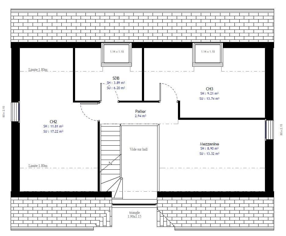 Plan 2de la maison individuelle Résidence Picarde 72