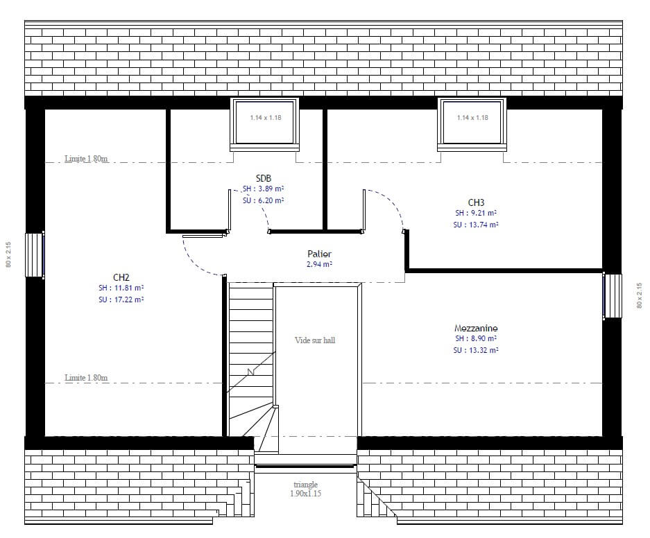 Plan maison 3 chambres Résidence Picarde 72
