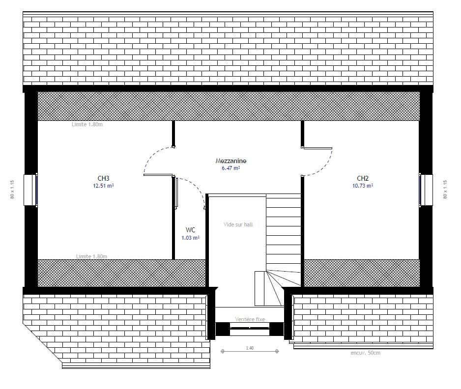 Plan maison 3 chambres Lesmaisons.com 74
