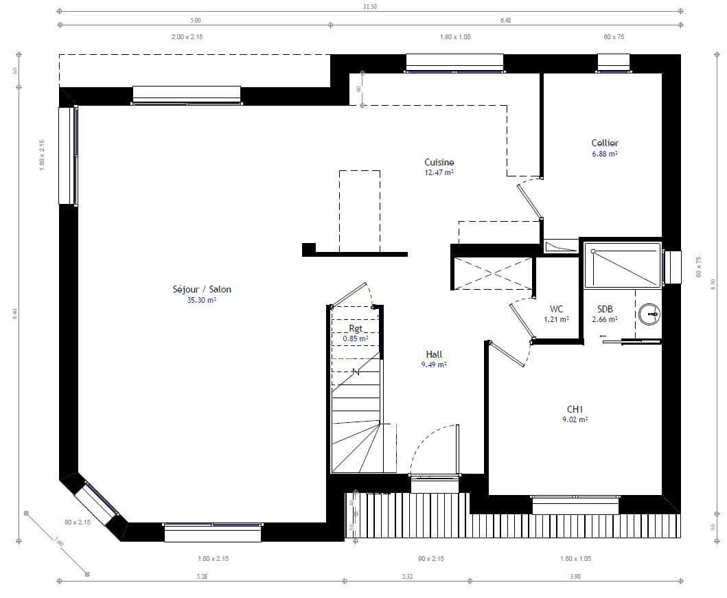 Plan maison individuelle 3 chambres 74b habitat concept for Sites web de plan de maison