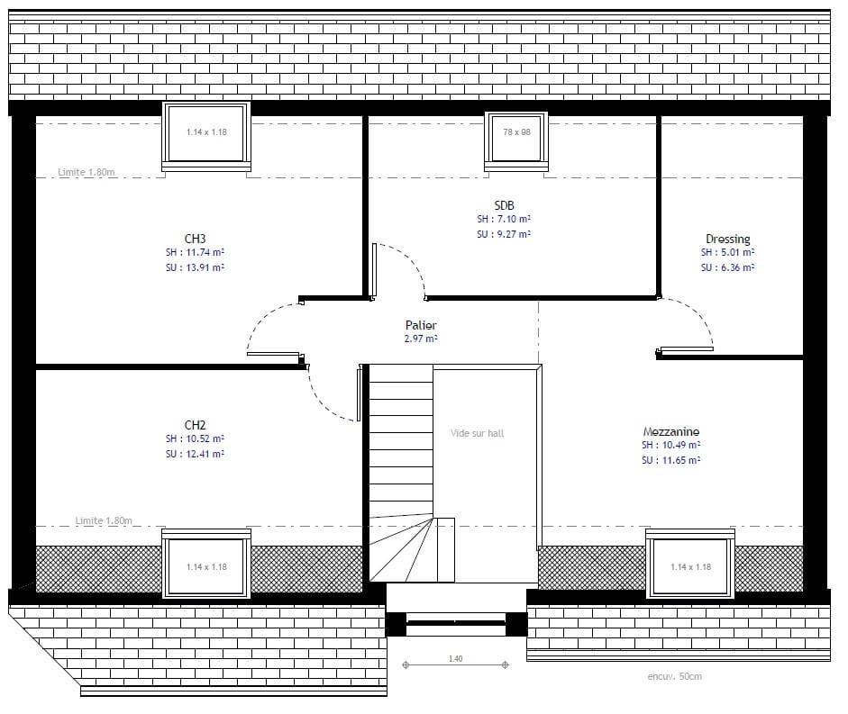 Plan 2de la maison individuelle Habitat Concept 74b
