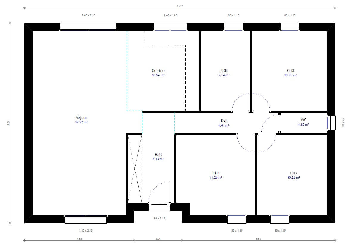 Plan de maison 3 chambres mod le r sidence picarde 77 for Modification de plan de maison