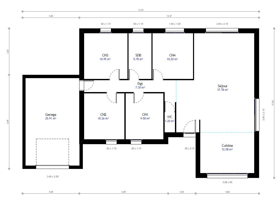 Plan maison individuelle 4 chambres 78 habitat concept for Plan maison 3 faces