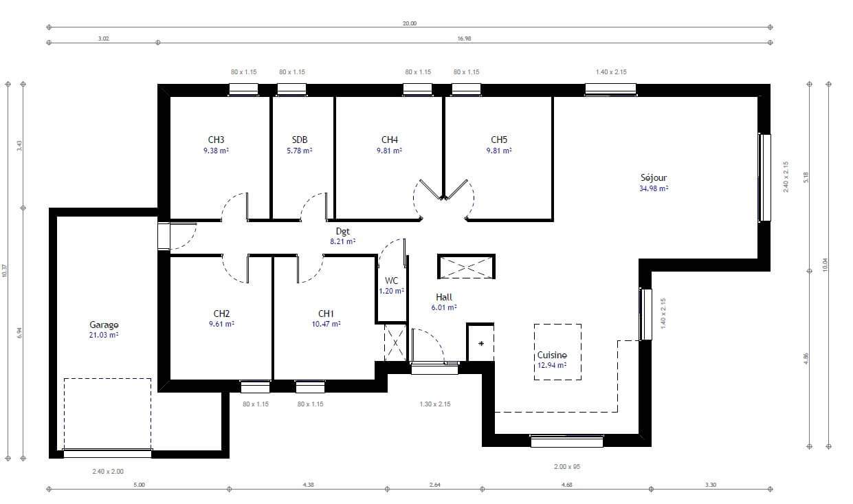 Plan maison individuelle 5 chambres 79 habitat concept for Plan maison 3 faces