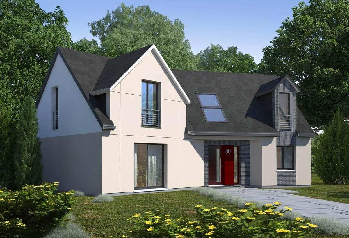 Plan maison individuelle 4 chambres 80 habitat concept for Chiffrage maison individuelle
