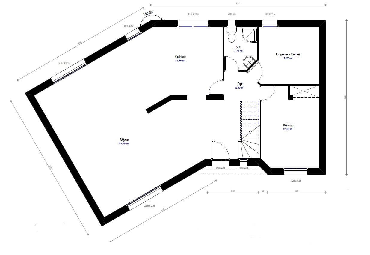 Plan 1de la maison individuelle Habitat Concept 80