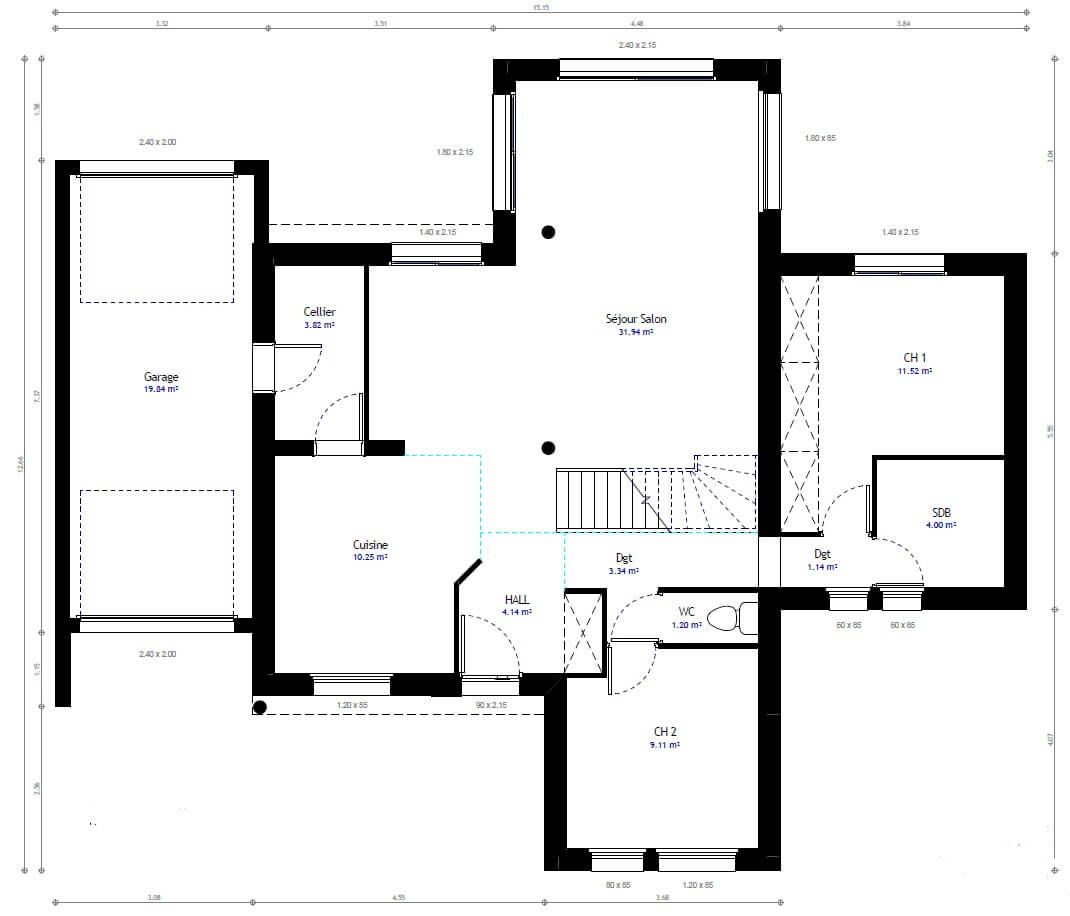 Plan maison individuelle 4 chambres 82 habitat concept for Plan maison 3 faces