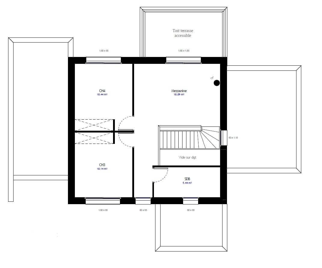 Plan 2de la maison individuelle Habitat Concept 82