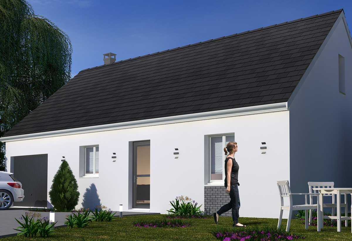 plan maison individuelle 3 chambres 91 habitat concept. Black Bedroom Furniture Sets. Home Design Ideas