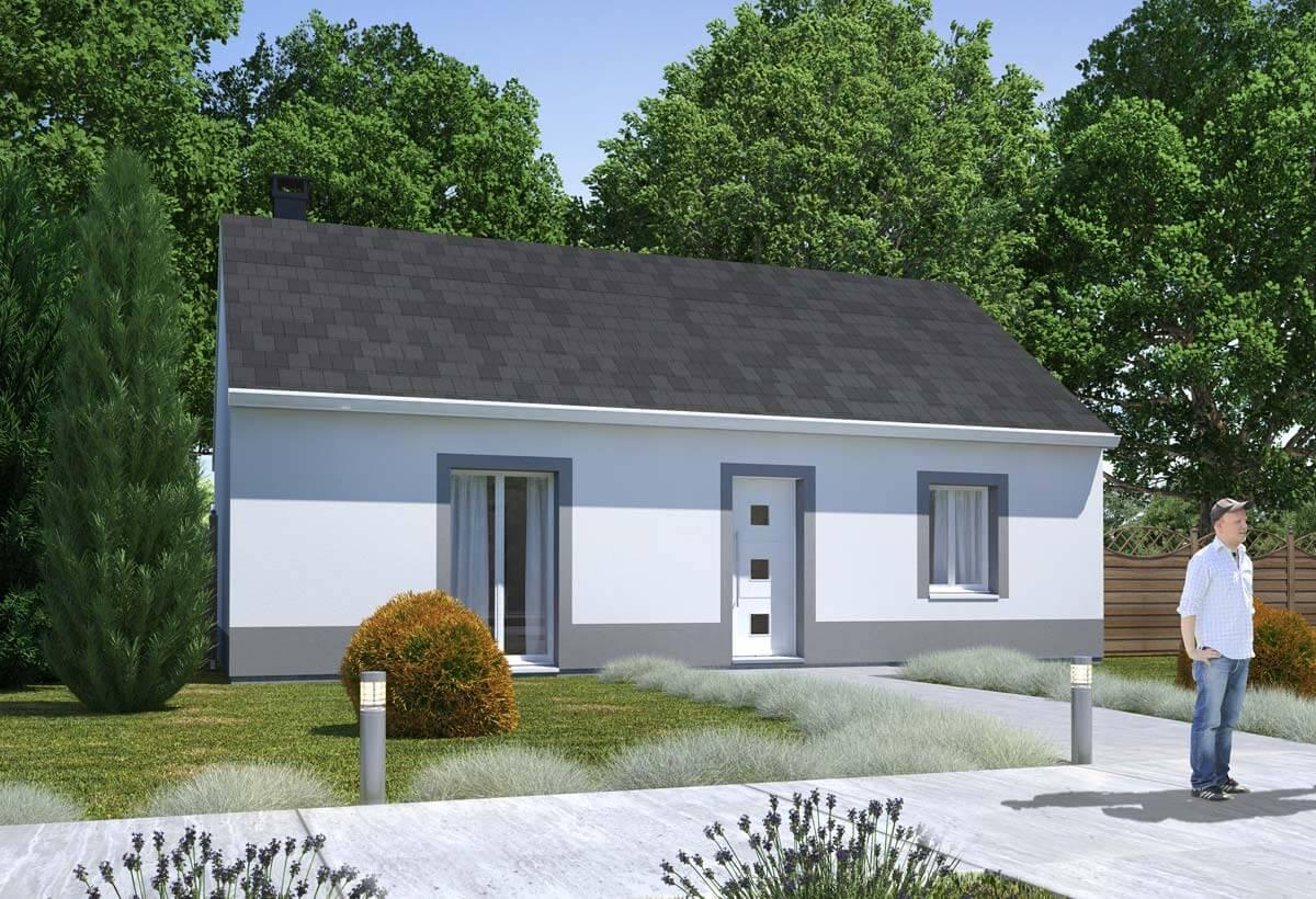 Plan maison individuelle 2 chambres 93 habitat concept - Modele plan maison plain pied gratuit ...