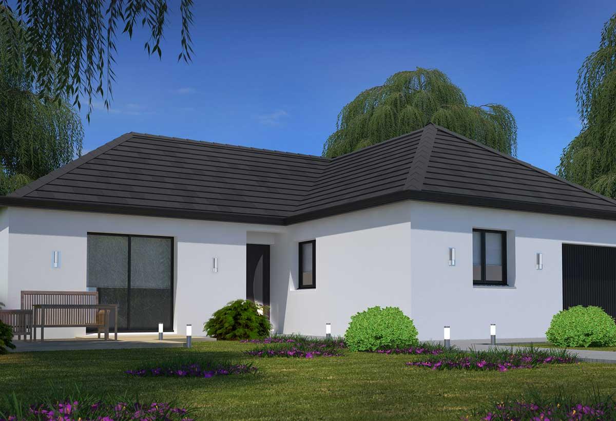 Plan maison individuelle 3 chambres 94 habitat concept for Prix construction maison plain pied 80m2