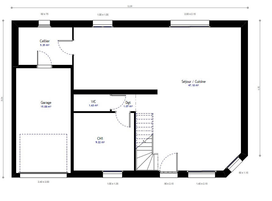 plan de maison 1 étage 3 chambres