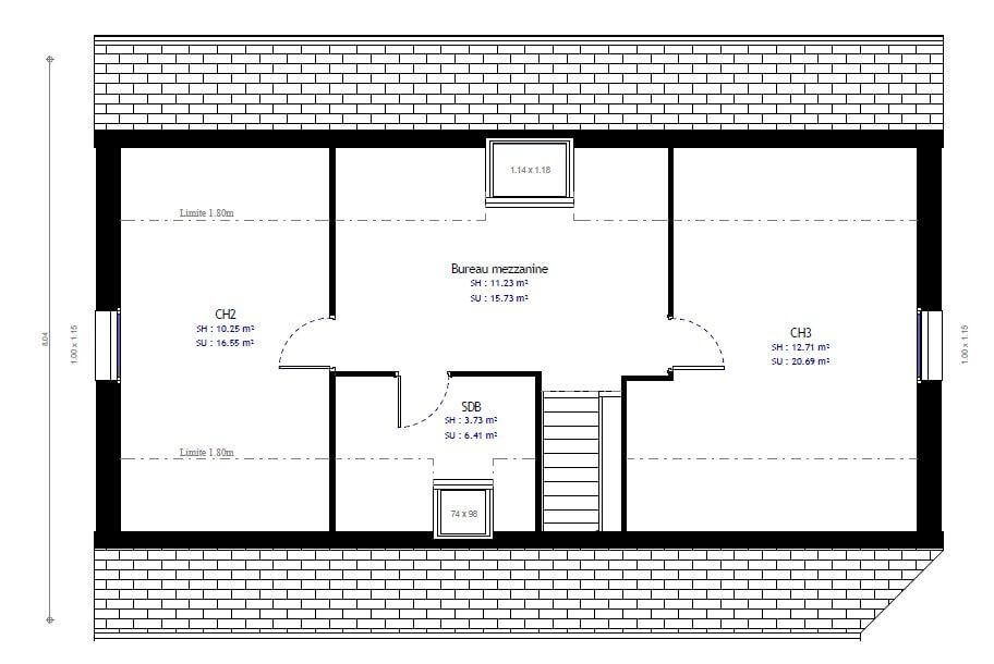 Plan 2de la maison individuelle Habitat Concept 95