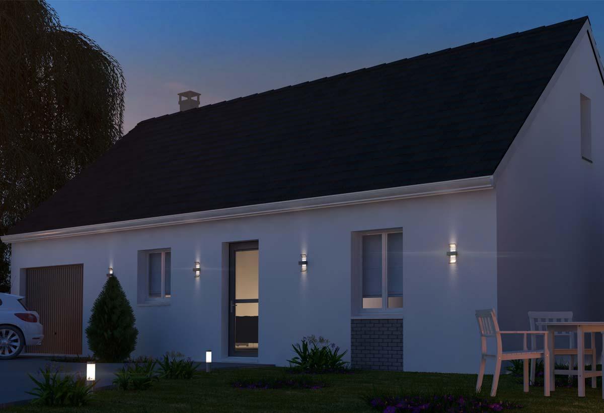 plan maison individuelle 3 chambres 97 gi habitat concept. Black Bedroom Furniture Sets. Home Design Ideas