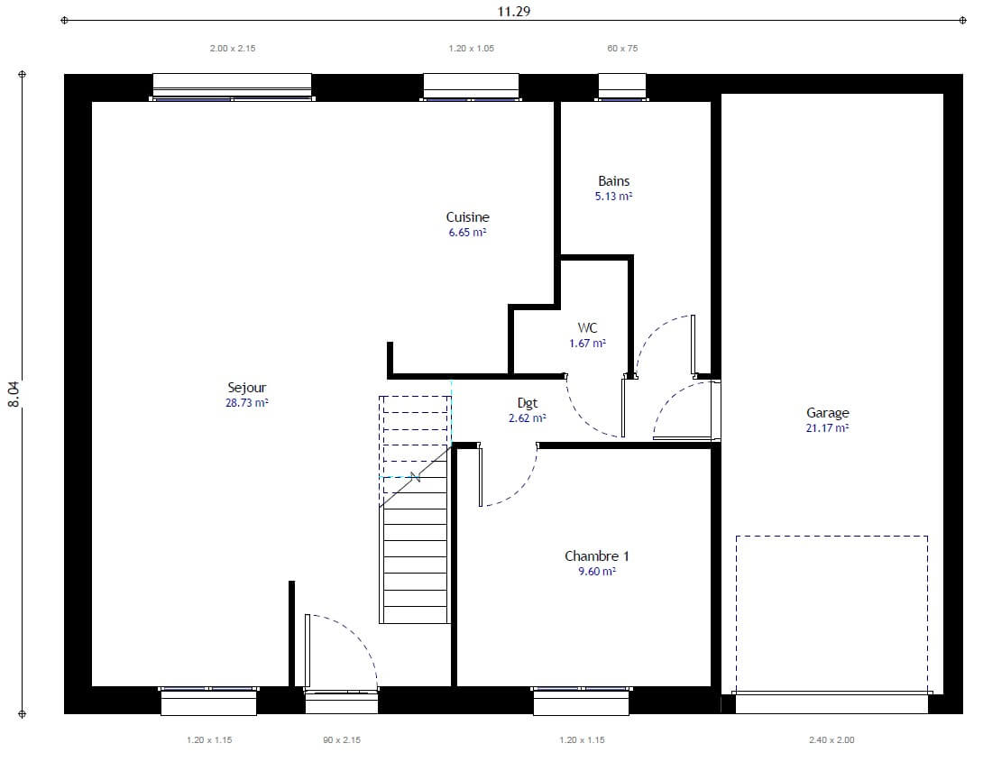 Plan maison individuelle 3 chambres 97 gi habitat concept for Plan maison 3 faces