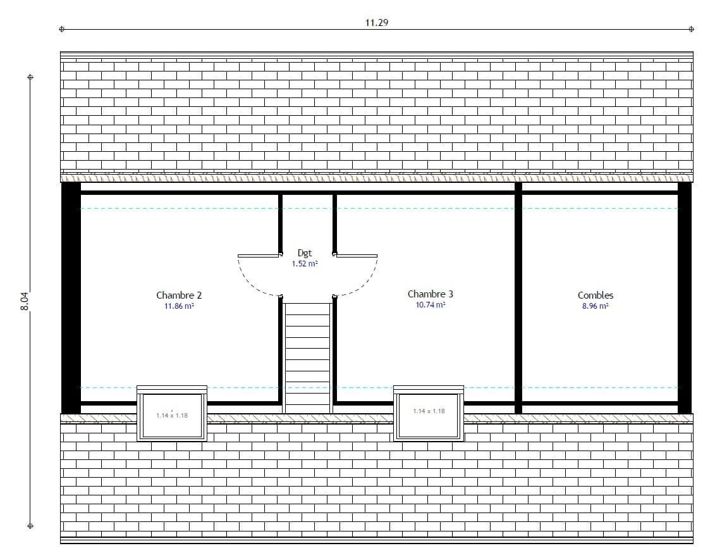 Plan maison 3 chambres HC 97 GI