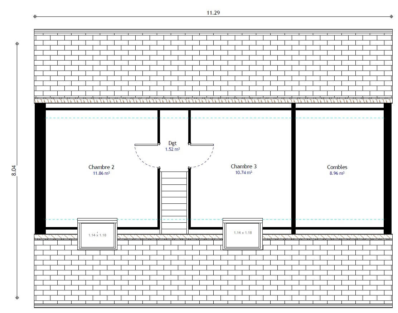 Plan maison 3 chambres Résidence Picarde 97 GI