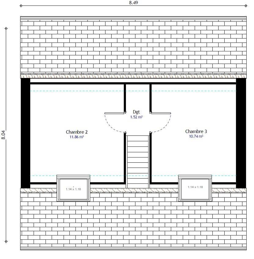 Plan 2de la maison individuelle Résidence Picarde 97